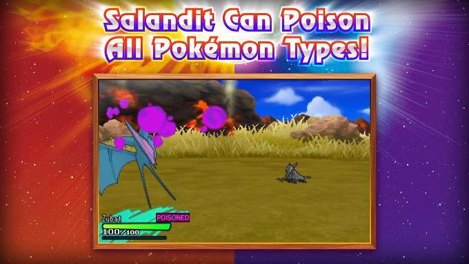 日本語での名前は今のところ不明ですが、「Salandit」は、どく、ほのおタイプのポケモンであることが明らかに