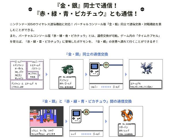 金銀のVC同士での通信プレイはもちろん、赤緑青ピカチュウのVCとの通信交換