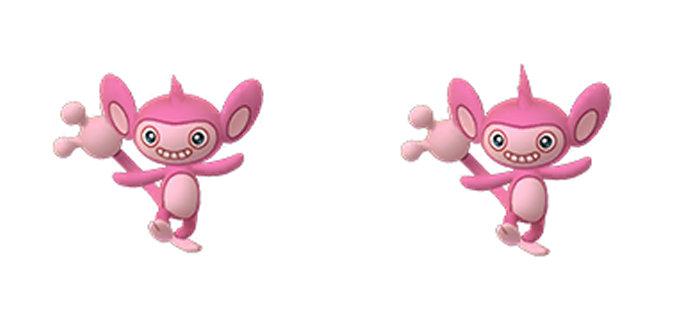 ポケモンGOに追加される色違いエイパムは、上のような姿になっています