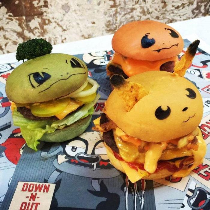 ポケモンのハンバーガー。ピカチュウ、ヒトカゲ、フシギダネを可愛く