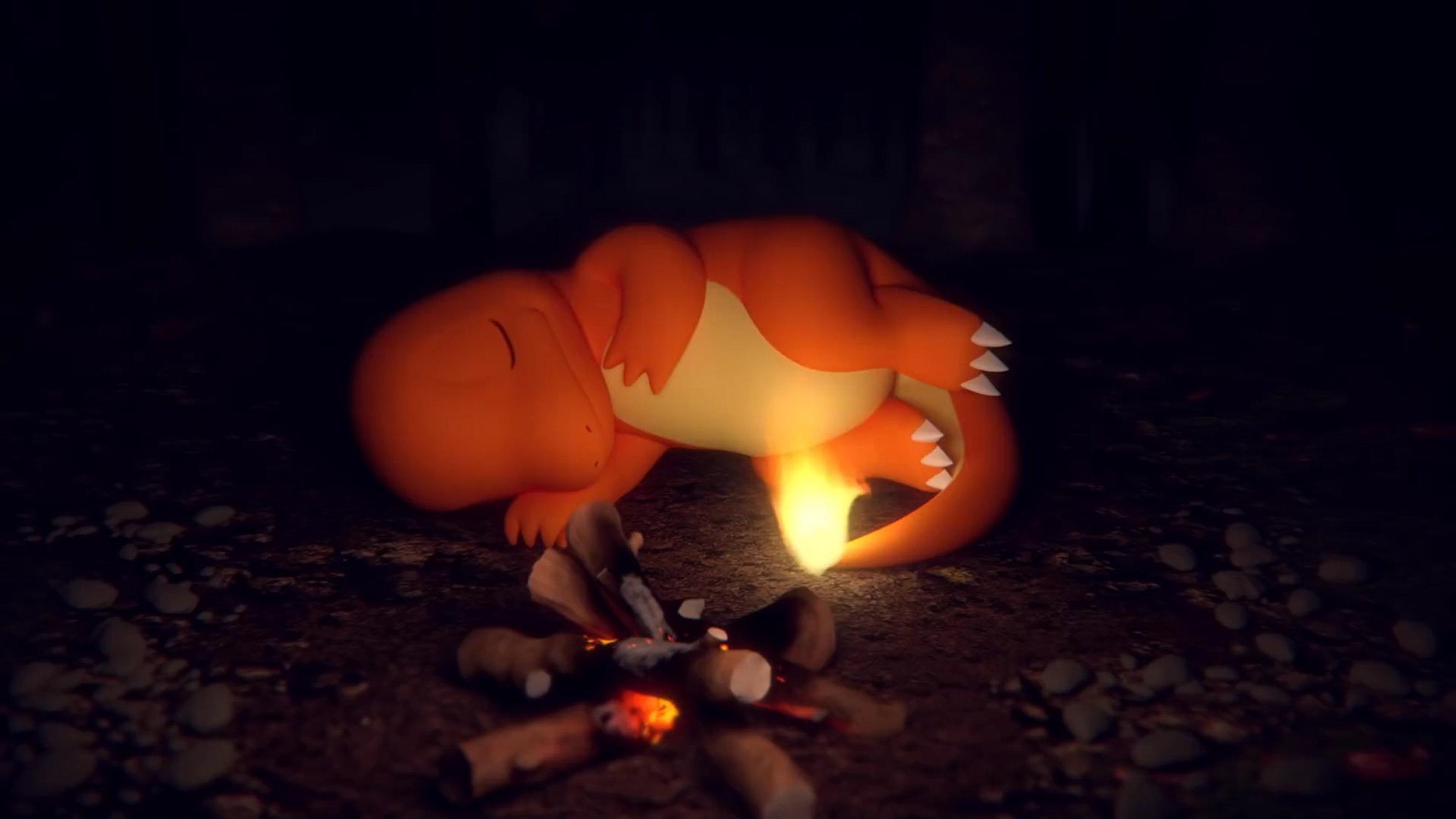 ポケモン、ヒトカゲと焚火の音を楽しむASMR動画。ハリマロン