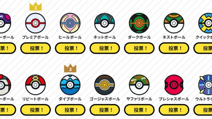 ポケモン、推しボール総選挙を実施。上位3種はポロシャツのボタンデザインに採用